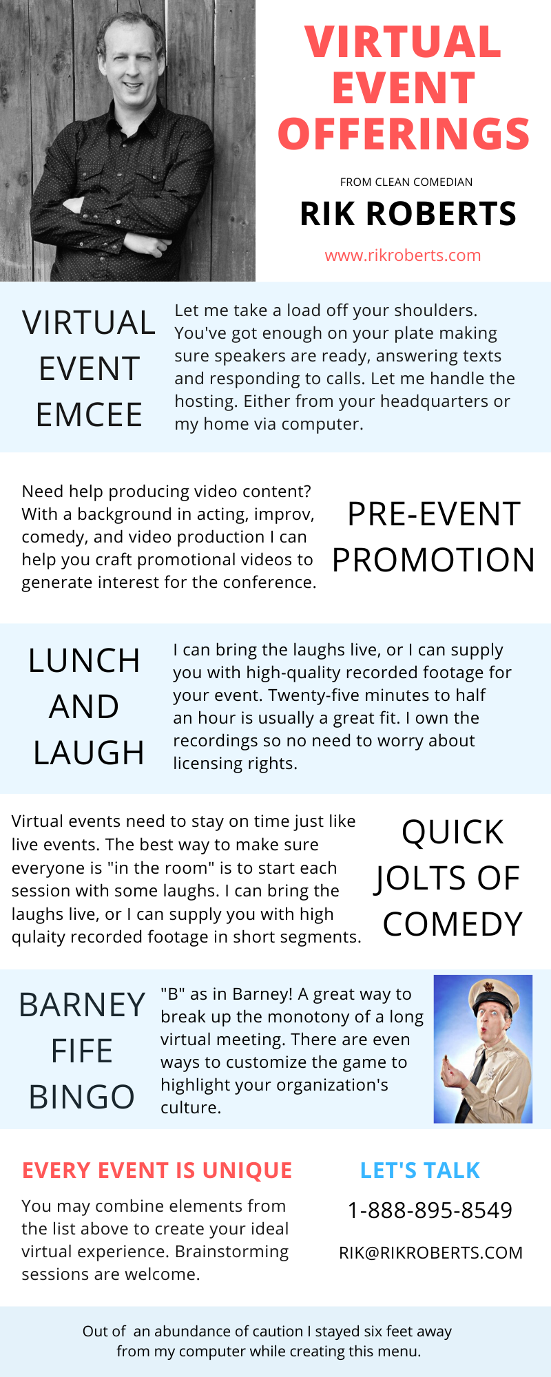 Virtual Event Offerings from Clean Comedian Rik Roberts